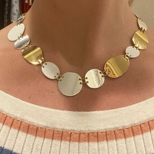 J. Crew Oval and Circle Gold Silver Necklace